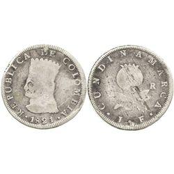 Bogota, Colombia (Cundinamarca), 8 reales, 1821JF, no BA, scarce.