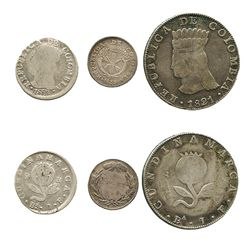 Lot of 3 coins of Bogota, Colombia: 8R 1821BaJF; 2R 1821BaJF; and 1R 1833RS.