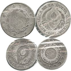 Lot of 2 Bogota, Colombia, 1R: 1838RS and 1847 (6-point stars).