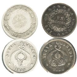 Lot of 2 Bogota, Colombia, 1 decimos: 1854 and 1858.