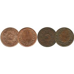 Lot of 2 Colombian (struck in London) copper 1/2 decimos de real (1847 and 1848).