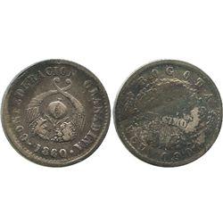 Bogota, Colombia, 1 decimo, 186/50.