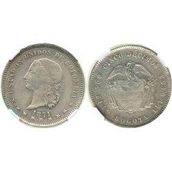 Bogota, Colombia, 5 decimos, 1871, encapsulated NGC XF 45.