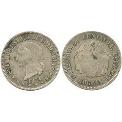 Bogota, Colombia, 50 centavos, 1874.