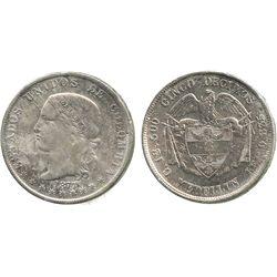 Medellin, Colombia, 5 decimos, 1877/4.