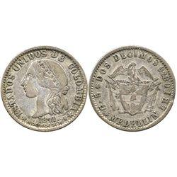 Medellin, Colombia, 2 decimos, 1871, key date.