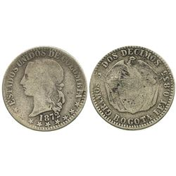 Bogota, Colombia, 2 decimos, 1872, rare.