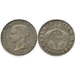 "Medellin, Colombia, 20 centavos, 1874, ""GRAM."" variety."