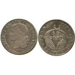 Medellin, Colombia, 20 centavos, 1876.