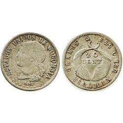 """Medellin, Colombia, 20 centavos, 1882, """"GRAMOS"""" variety."""
