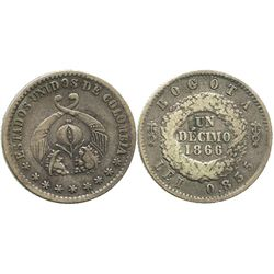 Bogota, Colombia, 1 decimo, 1866, one-year subtype with debased fineness (0.835).