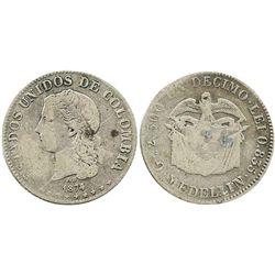 Medellin, Colombia, 1 decimo, 1874/4/3.