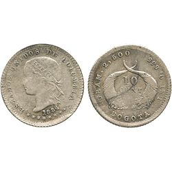 Bogota, Colombia, 10 centavos, 1884.