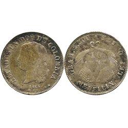 Medellin, Colombia, 10 centavos, 1885.