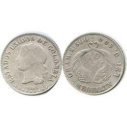 Medellin, Colombia, 10 centavos, 1885, fineness 0.500/0.835.