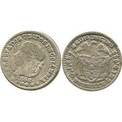 Medellin, Colombia, 1/2 decimo, 1868.