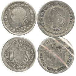 Lot of 2 Colombian 1/2 decimos: Bogota 1871 and Medellin 1872.