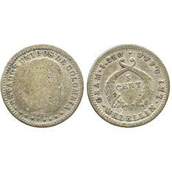 Medellin, Colombia, 5 centavos, 1875.