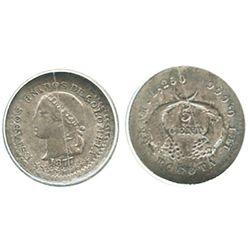 Bogota, Colombia, 5 centavos, 1877, encapsulated ANACS EF 45.