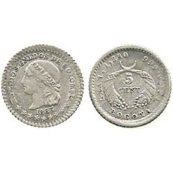 Bogota, Colombia, 5 centavos, 1883.