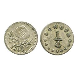 Bogota, Colombia, 1/4 decimo, 1864.