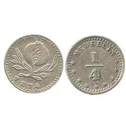 Medellin, Colombia, 1/4 decimo, 1874.