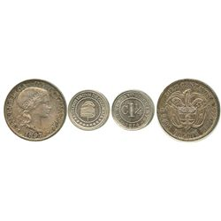 Lot of 2 Bogota, Colombia, minors: 10 centavos, 1897; and copper-nickel 1-1/4 centavos, 1874.