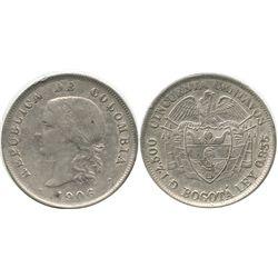 Bogota, Colombia, 50 centavos, 1906.