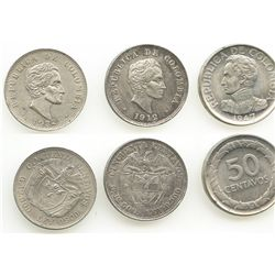Lot of 3 Colombia 50 centavos: 1912, 1932 and 1947/6.