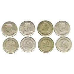 Lot of 4 Bogota, Colombia, 50 centavos, 1947/6 (3, one with medal axis) and 1948 (1).