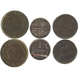 Lot of 3 Colombian miscellaneous minors for the Lazareto leper colonies: copper 20c and 10c 1901; co