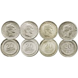 Lot of 4 Bogota, Colombia, 20 centavos: 1945 low B, 1946/5, 1948 B in upper wreath, and 1951.