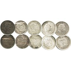 Lot of 5 Bogota, Colombia, 10 centavos: 1920, 1934 no B, 1941, 1942-B and 1942 no B (rare).