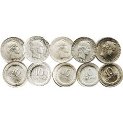 Lot of 7 Bogota, Colombia, 10 centavos: 1945 low B, 1946 low B, 1947 small low B, 1947 full low B, 1