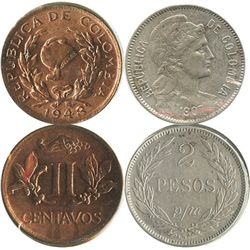 Lot of 2 miscellaneous Colombian minors: copper-nickel 2 pesos papel moneda 1907AM, and copper 2 cen
