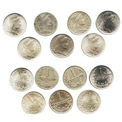 Lot of 7 Colombian copper-nickel and nickel-coated steel 1 centavos: 1918, 1919, 1938, 1946/1-B, 194