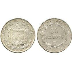 Costa Rica, 50 centavos, 1890GW.