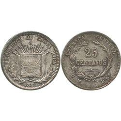 Costa Rica, 25 centavos, 1887GW (GW-9Ds variety).