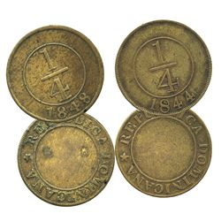 Lot of 2 Dominican Republic brass 1/4R, 1844 and 1848.