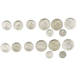 Lot of 8 Ecuador silver minors: 2 sucres, 1928, 1930 and 1944; 1 sucres, 1928, 1930 and 1934; 50 cen