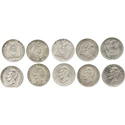Lot of 5 Ecuador 1 sucres: 1884-HEATON, 1888DT-SANTIAGO, 1890TF-LIMA, 1895TF-LIMA, and 1896F-LIMA.