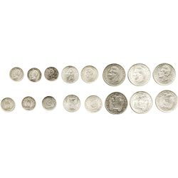 Lot of 8 Ecuador silver minors: 2 decimos, 1914FG-LIMA, 1914TF-PHILADELPHIA, 1916TF-PHILADELPHIA; 1