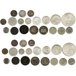 Mixed lot of 19 coins of Ecuador, various metals, dated 1833-1944.
