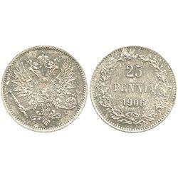 Finland, 25 pennia, 1906.