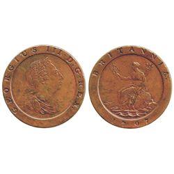 "London, England (Soho mint), copper ""cartwheel"" twopence, George III, 1797."