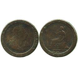 "London, England (Soho mint), copper ""cartwheel"" penny, George III, 1797."