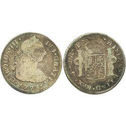 Guatemala, bust 2 reales, Charles III, 1773P.