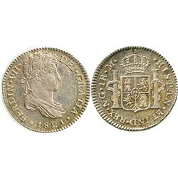 Guatemala, bust 1 real, Ferdinand VII, 1821M.