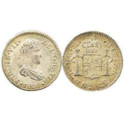 Guatemala, bust 1/2 real, Ferdinand VII, 1820M.
