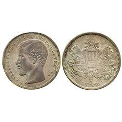 Guatemala, 1 peso, 1871R, Carrera.